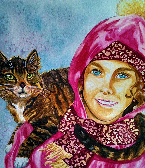 Girl with brown cat