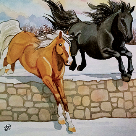 2 horses jumping over stone wall